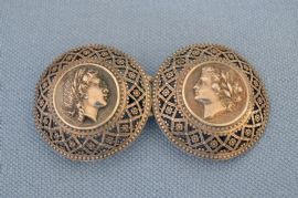 Two Part Silver Buckle- Classical Ladies' Heads - 19th Century Continental European